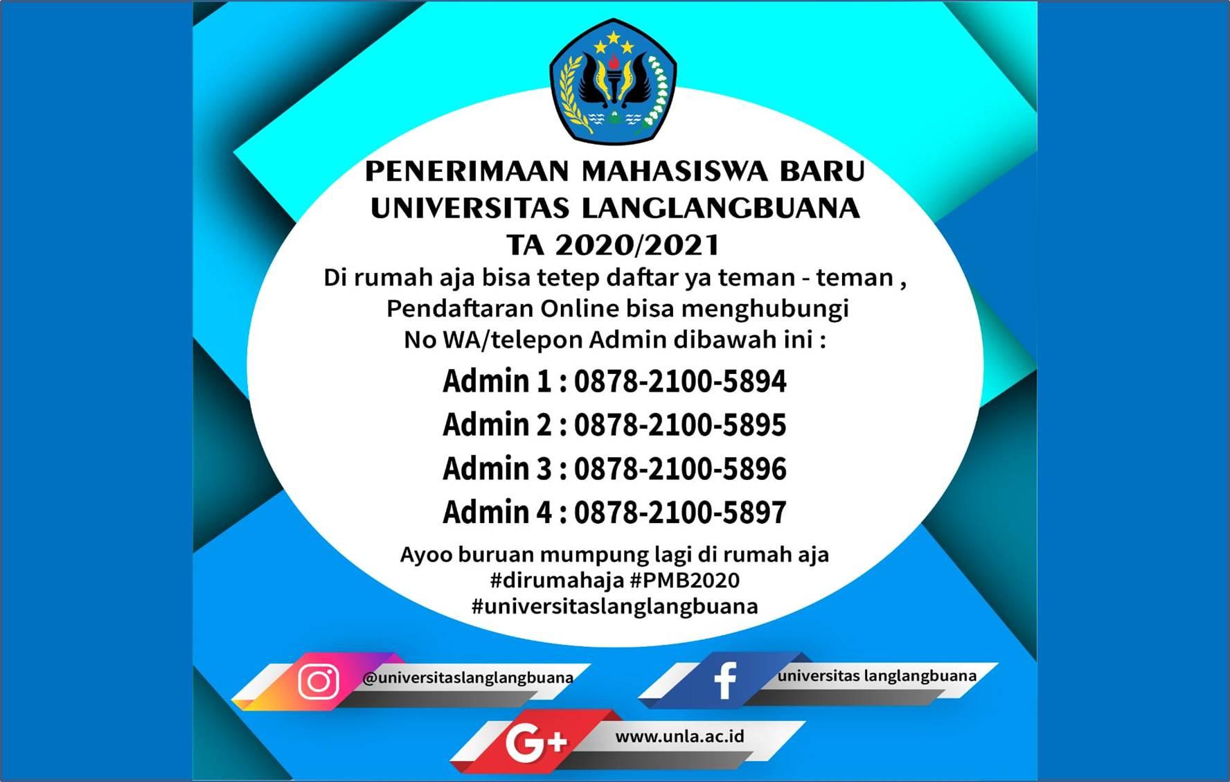 PENERIMAAN MAHASISWA BARU TAHUN AKADEMIK 2020/2021